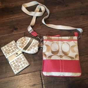 Coach cross body with wallet and coin purse